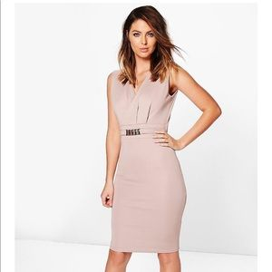 Belted Tailored Dress / Taupe